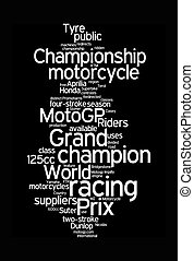 motogp word clouds on black background