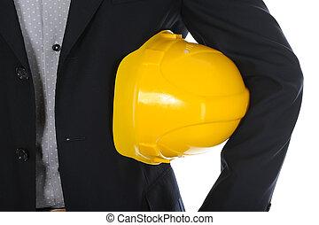 homem negócios, construção, capacete