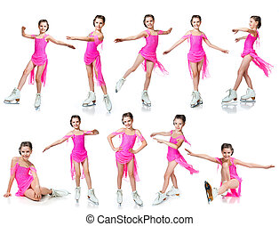 girl on skates collection isolated on white