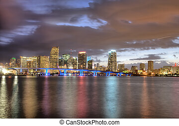 Miami Skyline - Twilight glow on skyline of Miami along...