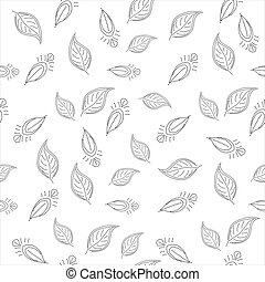 Background with leaves contours