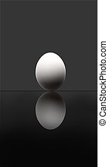 Perfection of the origin of life - A white egg on the grey...