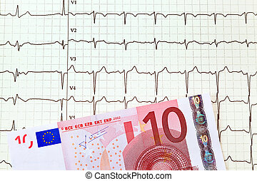 ecg curve and ten euro; - a ten-euro note is on an ecg curve...