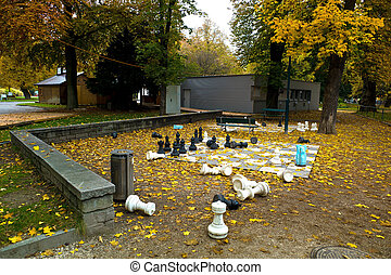 people garden in linz, upper austria in the autumn - the...