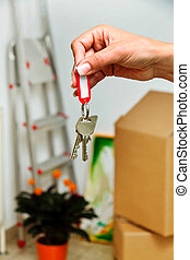 keys of a housing with the move. tenant - the key to an...