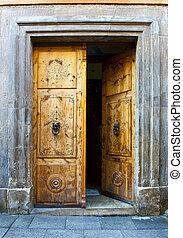 Open Door - Wooden Open Door with Knockers In The Form Of a...