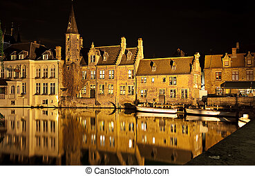 Bruges canal at night, Belgium Horizontal shot