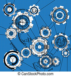 gear and cogwheels - blueprint of gears and cogwheels on...