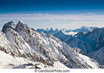Zugspitze area in Alps at winter, Germany, Europe