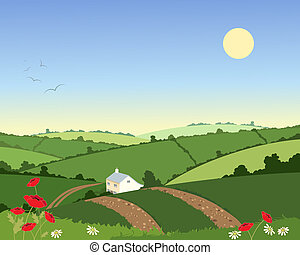 country cottage in summer - an illustration of a country...
