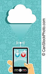 Cloud computing communication. - Hand holding a cell phone...