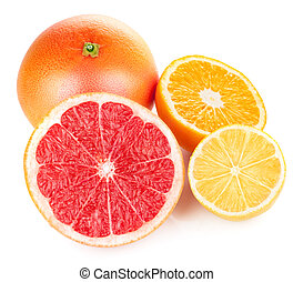 fresh fruits orange lemon grapefruit in cut
