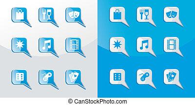 Entertainment icons set - Entertainment icons glossy set...