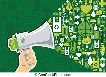 Go green social media Marketing - Hand holding a megaphone...