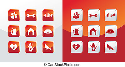 Pet care icons set - Pet care icons glass set over light and...