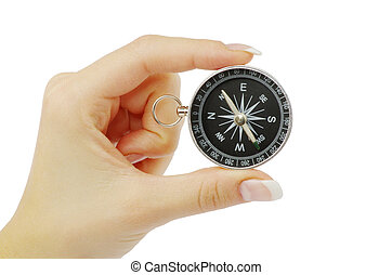 compass - Compass in a hand isolated on the white