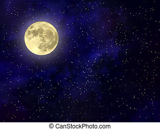 Full moon illustration - Night sky with stars and full moon...