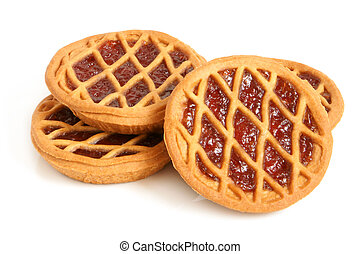 Short pies with cherry jam on a white background