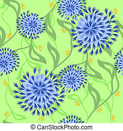 Floral pattern with exotic leaves