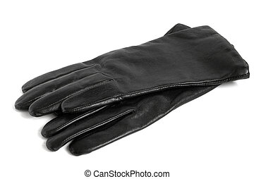 Black women gloves on a white background