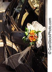 Wedding decoration on car - wedding flowers decoration on...