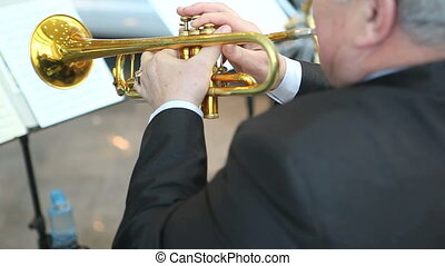 trumpeter - man playing trumpet jazz