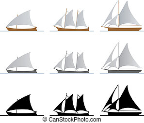 Sailboats - Nine sailboats isolated on white background