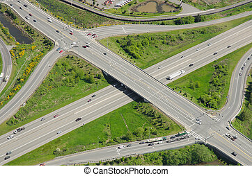 Highway Overpass and Intersection - Aerial view of typical...