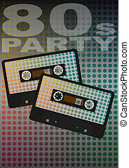 Retro Party - Audio Cassette Tapes on Dotted Background With...