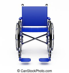 Blue wheelchair on a light background.