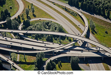 Weaving Interstate Junction - Aerial perspective of...
