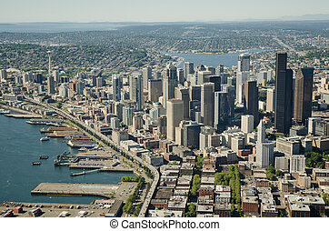 Seattle and Space Needle - Aerial - Seattle waterfront...