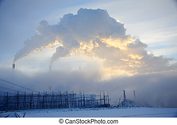 Fuel and Power Generation - Power Plant Smoke Stacks and...