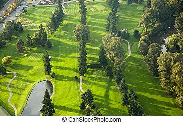 -, aérien, Coucher soleil,  golf, cours