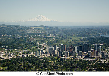City and Moutain - Aerial - Bellevue,WA and Mt Rainier on...