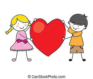 Children holding a heart