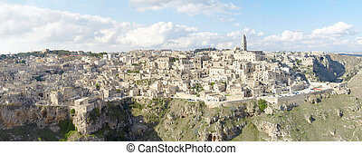 View of Matera, Italy, Unesco - Panoramic view of Matera,...