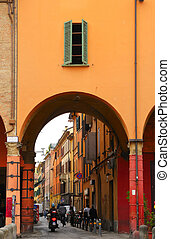 Street Scene, Bologna, Italy - street scene with archway in...