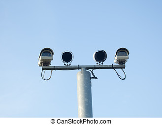 Security Cameras - Photo of security cameras isolated...