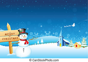 Snowman Christmas night - illustration of snowman in front...