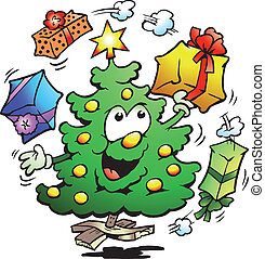Christmas Tree Who Juggle Gifts - Hand-drawn Vector...