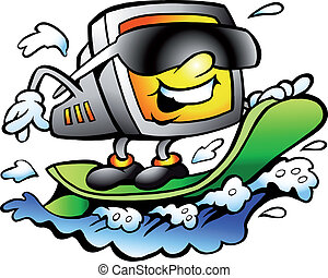 Surfing Retro Screen - Hand-drawn Vector illustration of an...