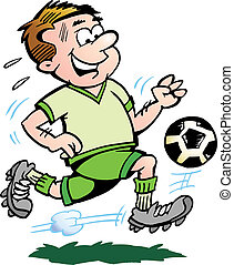 Soccer Player - Hand-drawn Vector illustration of an Soccer...