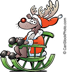 Reindeer sitting in rocking chair - Hand-drawn Vector...