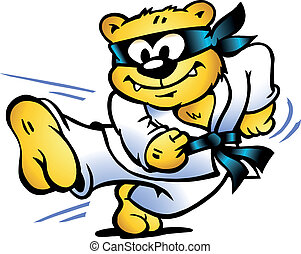 Tiger Practices Self-Defense - Hand-drawn Vector...