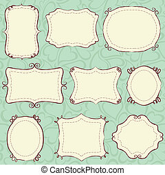 Hand drawn frames background is a seamless pattern