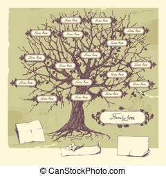 Family tree. - Vector illustration of family tree. Oak...