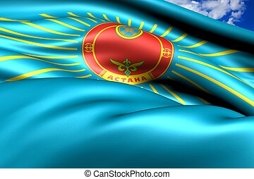 Flag of Astana, Kazakhstan. Close up.