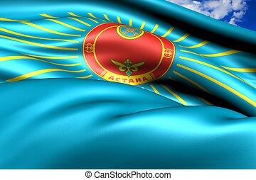 Flag of Astana, Kazakhstan. Close up.