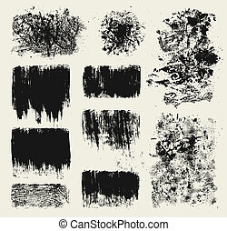 Grunge design elements - Set of grunge wood imprints and...